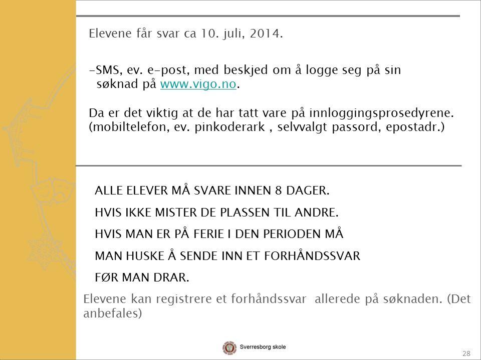 28 Elevene får svar ca 10. juli, 2014. -SMS, ev.