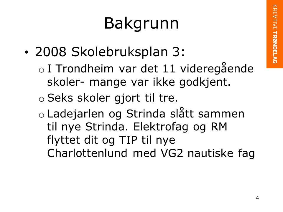 Bakgrunn 2008 Skolebruksplan 3: o I Trondheim var det 11 videregående skoler- mange var ikke godkjent.