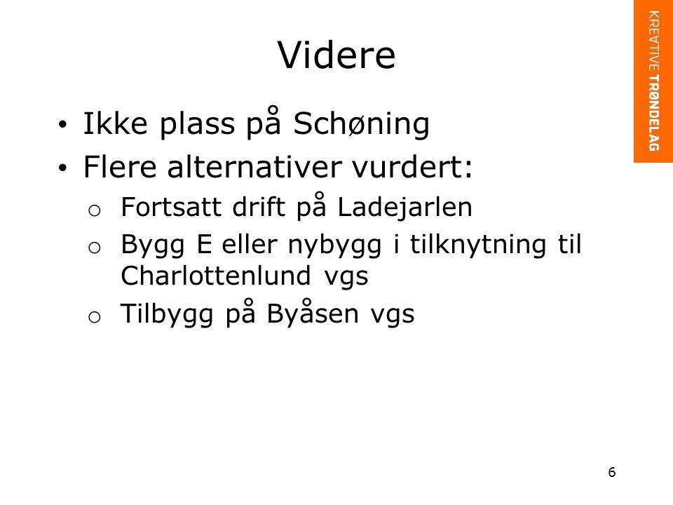 Videre Ikke plass på Schøning Flere alternativer vurdert: o Fortsatt drift på Ladejarlen o Bygg E eller nybygg i tilknytning til Charlottenlund vgs o Tilbygg på Byåsen vgs 6
