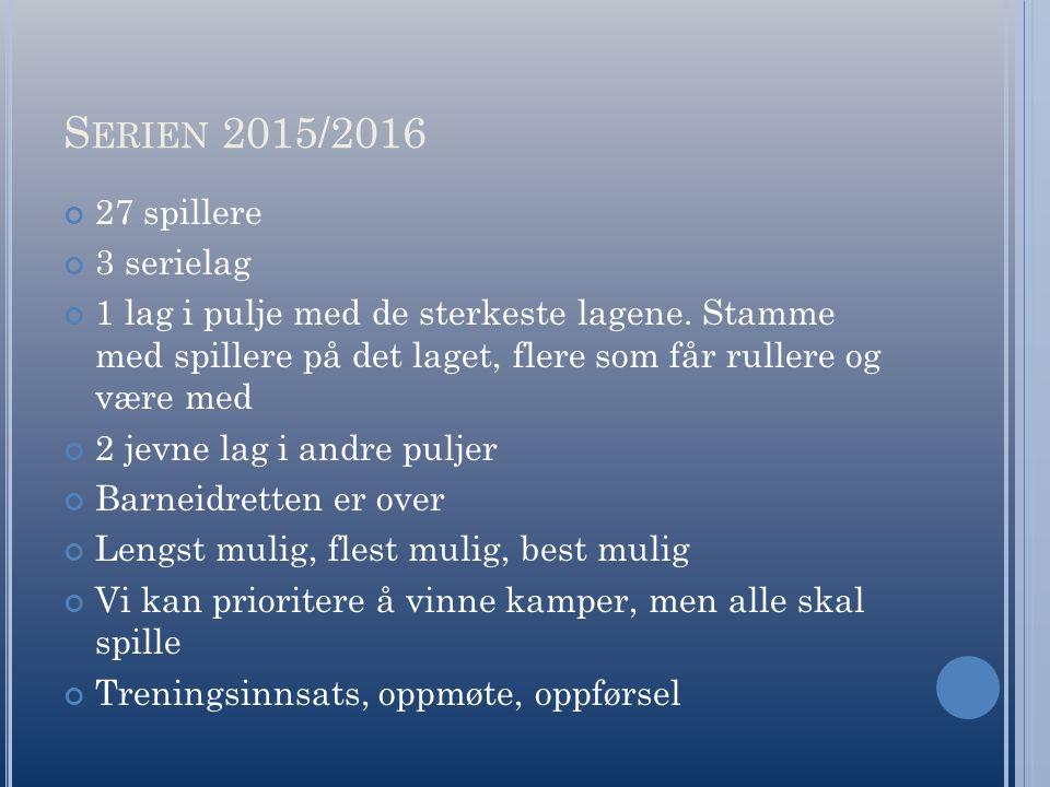 S ERIEN 2015/2016 27 spillere 3 serielag 1 lag i pulje med de sterkeste lagene.