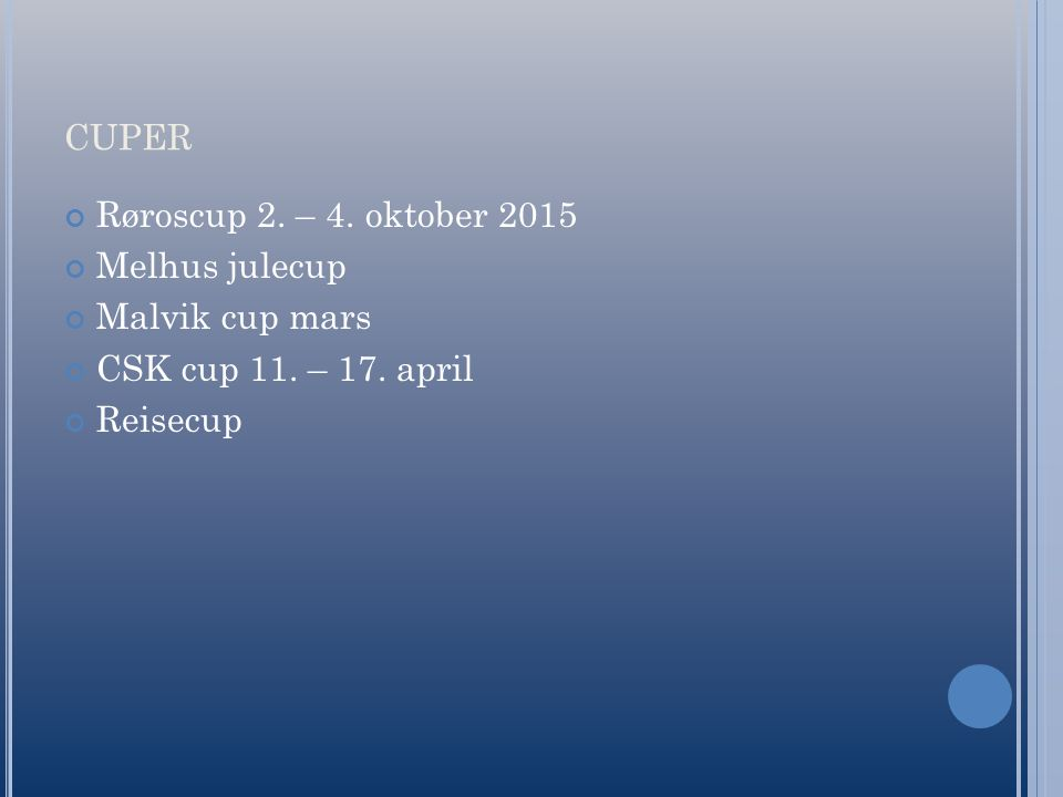 CUPER Røroscup 2. – 4. oktober 2015 Melhus julecup Malvik cup mars CSK cup 11. – 17. april Reisecup