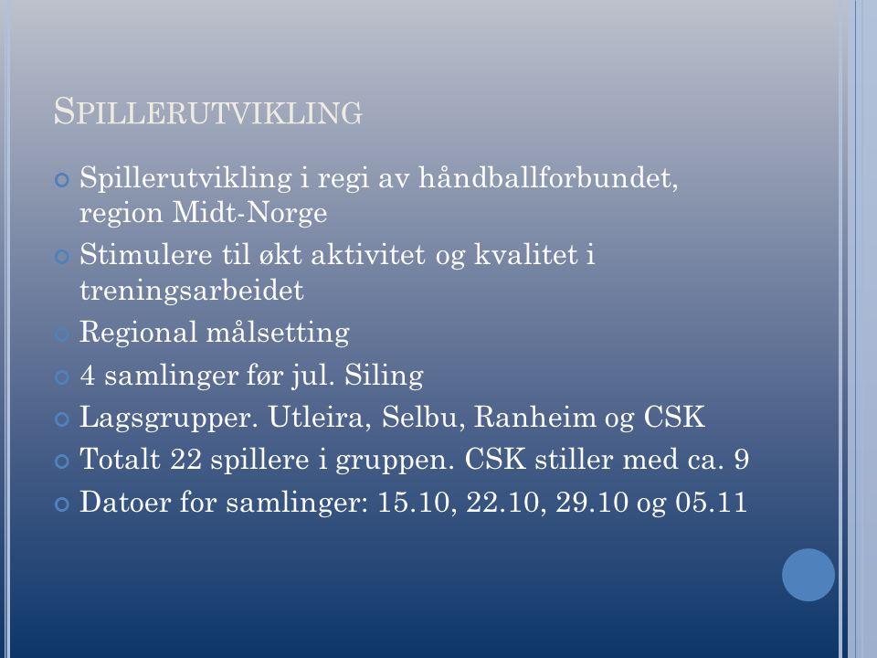 S PILLERUTVIKLING Spillerutvikling i regi av håndballforbundet, region Midt-Norge Stimulere til økt aktivitet og kvalitet i treningsarbeidet Regional målsetting 4 samlinger før jul.