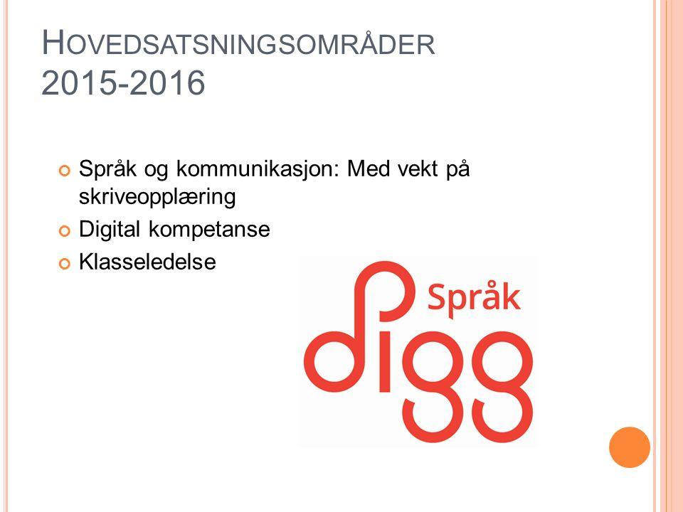 H OVEDSATSNINGSOMRÅDER 2015-2016 Språk og kommunikasjon: Med vekt på skriveopplæring Digital kompetanse Klasseledelse