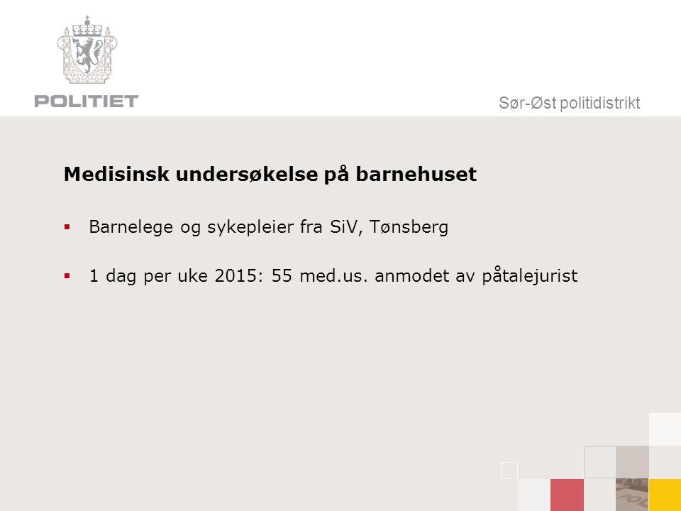 Medisinsk undersøkelse på barnehuset  Barnelege og sykepleier fra SiV, Tønsberg  1 dag per uke 2015: 55 med.us.