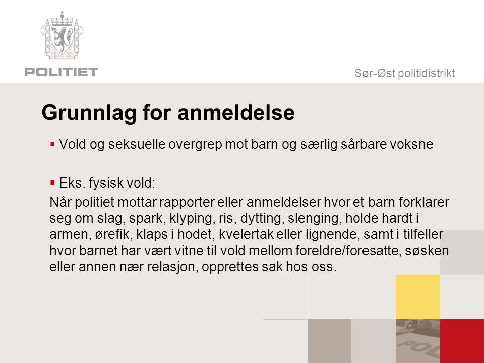 Sør-Øst politidistrikt Grunnlag for anmeldelse  Vold og seksuelle overgrep mot barn og særlig sårbare voksne  Eks.