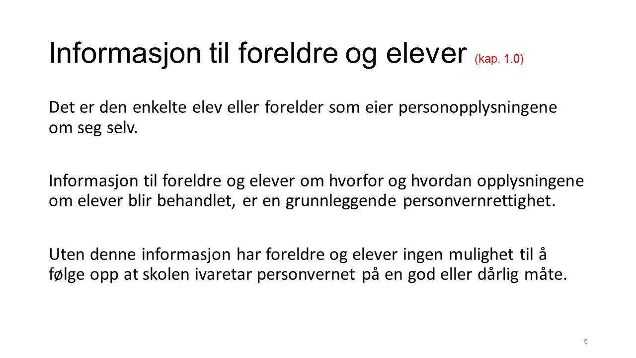 Informasjon om bruk av personopplysninger (kap.