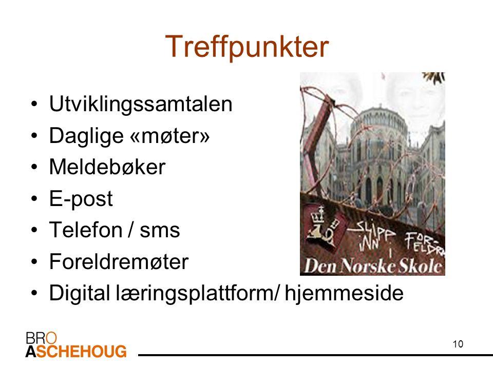 Treffpunkter Utviklingssamtalen Daglige «møter» Meldebøker E-post Telefon / sms Foreldremøter Digital læringsplattform/ hjemmeside 10