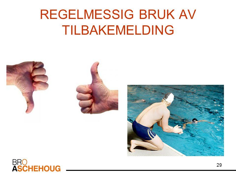 29 REGELMESSIG BRUK AV TILBAKEMELDING