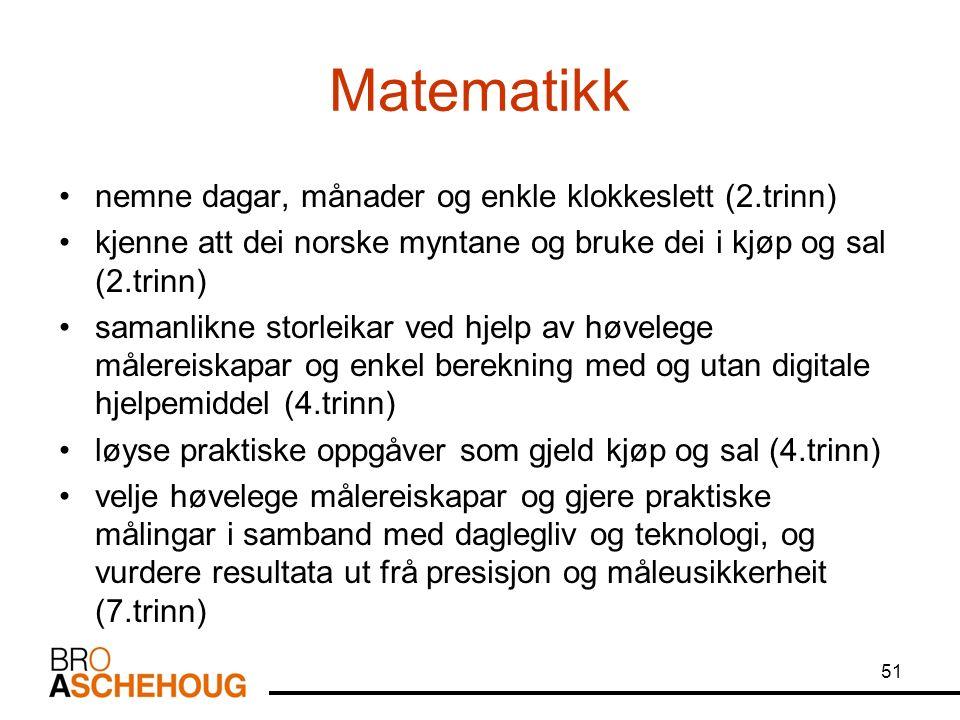 Matematikk nemne dagar, månader og enkle klokkeslett (2.trinn) kjenne att dei norske myntane og bruke dei i kjøp og sal (2.trinn) samanlikne storleikar ved hjelp av høvelege målereiskapar og enkel berekning med og utan digitale hjelpemiddel (4.trinn) løyse praktiske oppgåver som gjeld kjøp og sal (4.trinn) velje høvelege målereiskapar og gjere praktiske målingar i samband med daglegliv og teknologi, og vurdere resultata ut frå presisjon og måleusikkerheit (7.trinn) 51