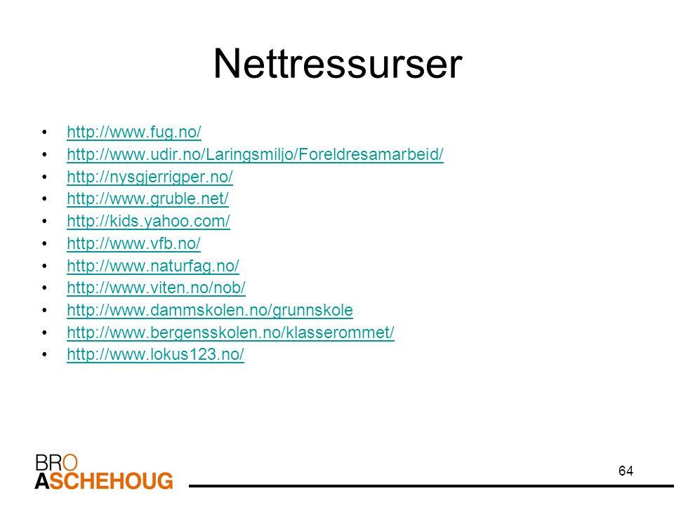 64 Nettressurser http://www.fug.no/ http://www.udir.no/Laringsmiljo/Foreldresamarbeid/ http://nysgjerrigper.no/ http://www.gruble.net/ http://kids.yahoo.com/ http://www.vfb.no/ http://www.naturfag.no/ http://www.viten.no/nob/ http://www.dammskolen.no/grunnskole http://www.bergensskolen.no/klasserommet/ http://www.lokus123.no/