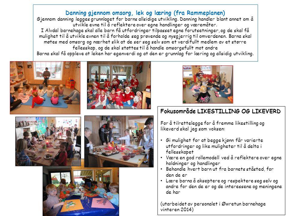 Danning gjennom omsorg, lek og læring (fra Rammeplanen) Gjennom danning legges grunnlaget for barns allsidige utvikling.