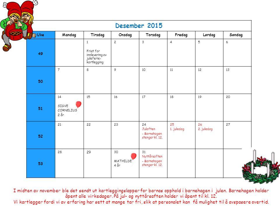 Desember 2015 UkeMandagTirsdagOnsdagTorsdagFredagLørdag Søndag 49 1 Frist for innlevering av juleferie- kartlegging 23456 50 78910111213 51 14 SIGVE CORNELIUS 2 år 151617181920 52 21222324 Julaften - Barnehagen stenger kl.