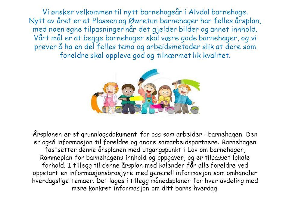 Vi ønsker velkommen til nytt barnehageår i Alvdal barnehage.