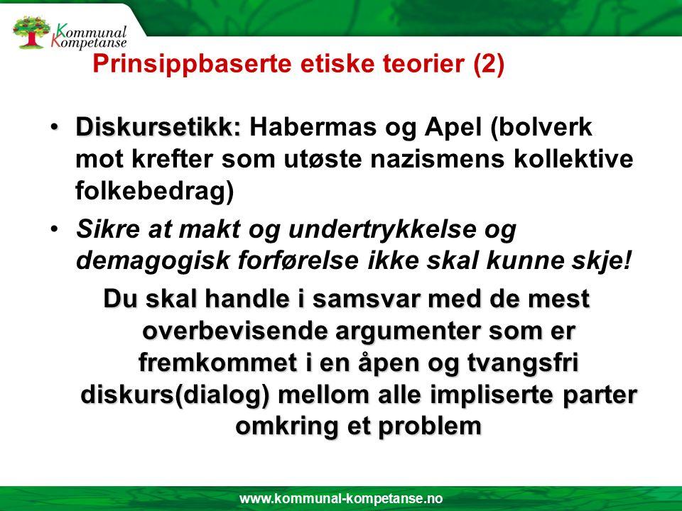 www.kommunal-kompetanse.no Prinsippbaserte etiske teorier Pliktetikk:Pliktetikk: Immanuel Kant – det kategoriske imperativ: Du skal handle slik i enhver situasjon at maksimen (handlings-regelen) av din handling kan stå som allmenn regel .