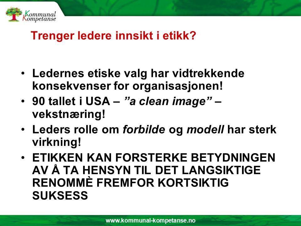 www.kommunal-kompetanse.no Etiske dilemma Eksempel 1.: Søviknessaken – Hagen Eksempel 2.: Finske langrennsløpere – doping Tendens: Fra allmenn moralsk holdning til konsekvensetisk grunnholdning.