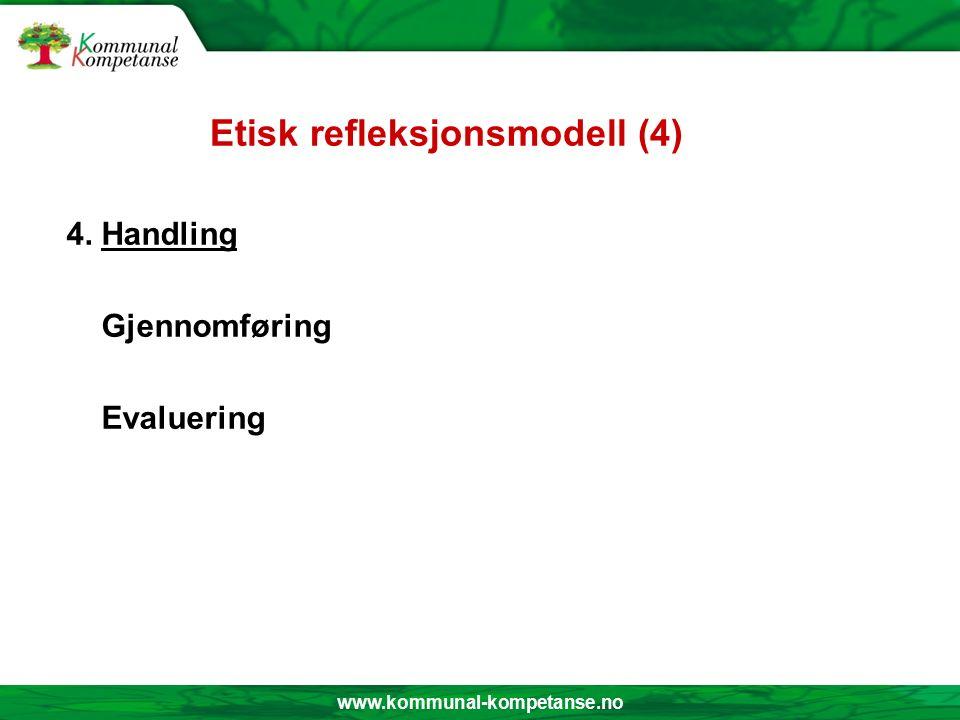 www.kommunal-kompetanse.no Etisk refleksjonsmodell ( 3 ) 3.Handlingsalternativ: Mulige handlingsvalg Rangering av alternativene