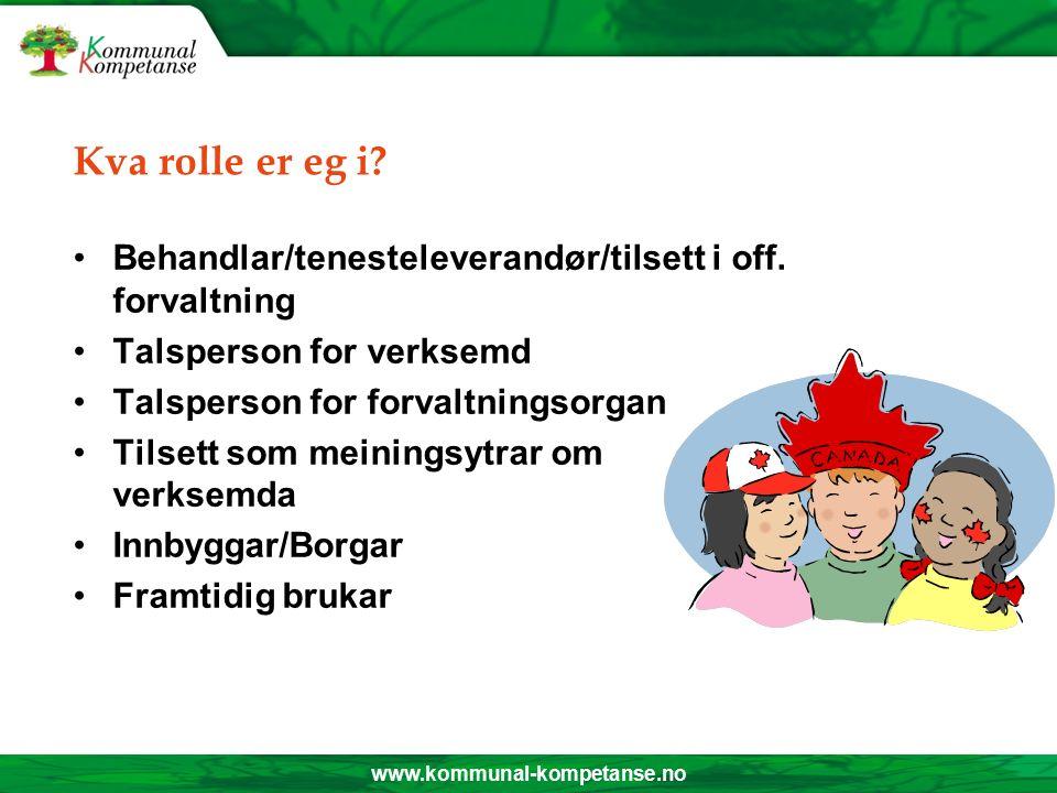 www.kommunal-kompetanse.no Kva rolle er eg i.Behandlar/tenesteleverandør/tilsett i off.