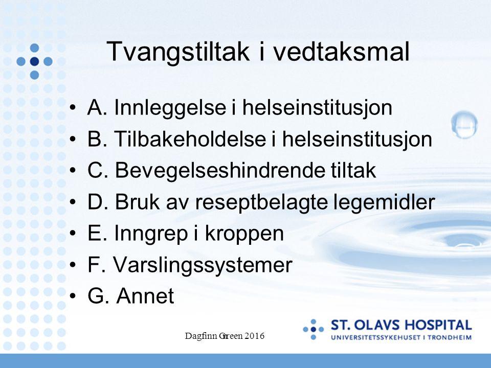 Dagfinn Green 2016n Tvangstiltak i vedtaksmal A. Innleggelse i helseinstitusjon B.