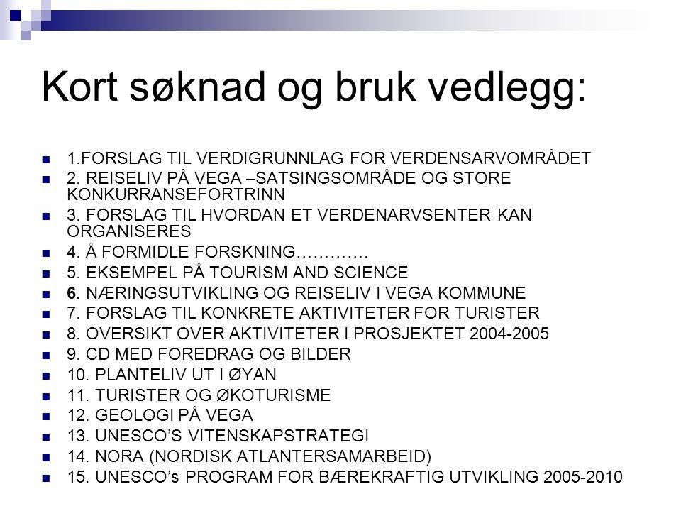 Kort søknad og bruk vedlegg: 1.FORSLAG TIL VERDIGRUNNLAG FOR VERDENSARVOMRÅDET 2.