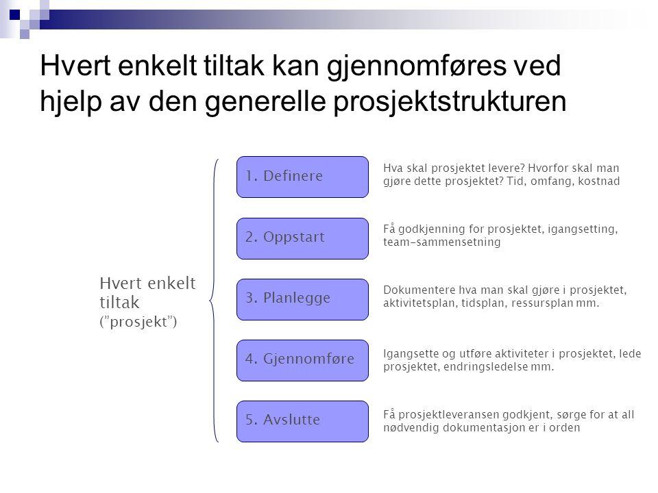 Hvert enkelt tiltak kan gjennomføres ved hjelp av den generelle prosjektstrukturen 1.