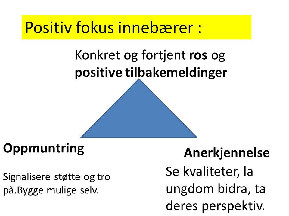 Positiv fokus innebærer : Konkret og fortjent ros og positive tilbakemeldinger Anerkjennelse Se kvaliteter, la ungdom bidra, ta deres perspektiv. Oppm