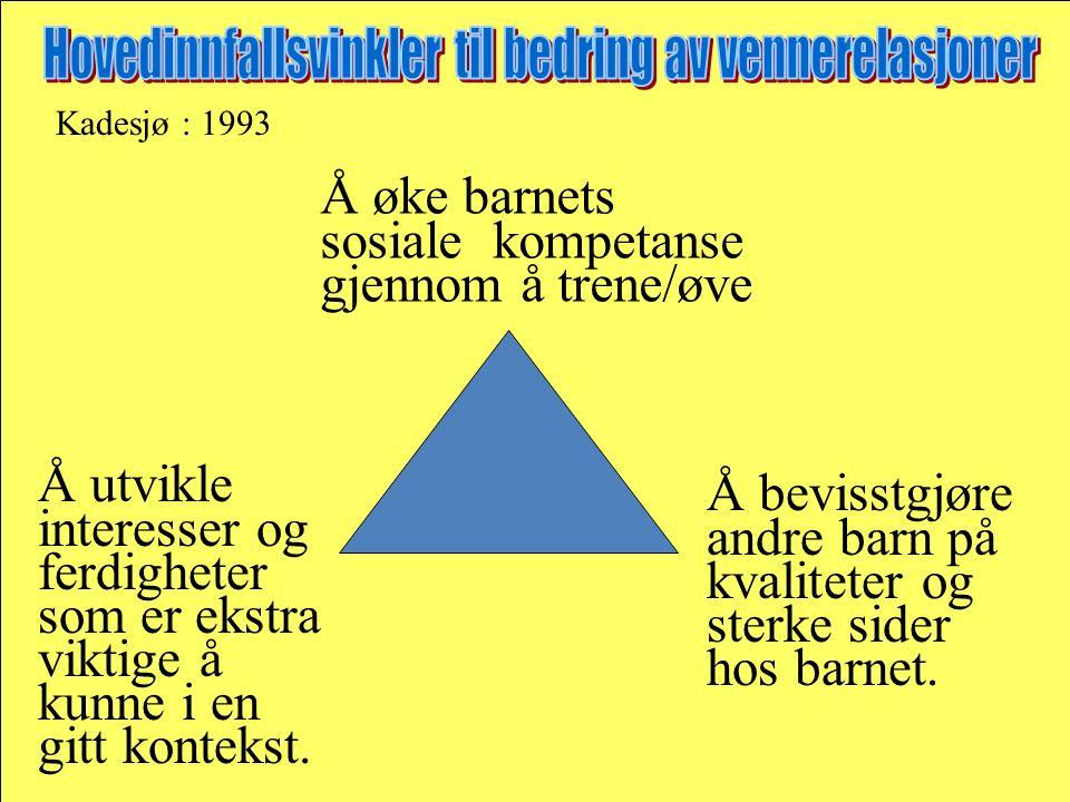 Kadesjø : 1993 Å øke barnets sosiale kompetanse gjennom å trene/øve Å utvikle interesser og ferdigheter som er ekstra viktige å kunne i en gitt kontek