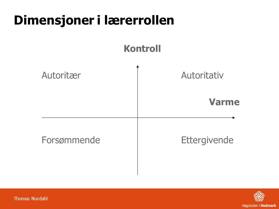 Dimensjoner i lærerrollen Kontroll Autoritær Autoritativ Varme Forsømmende Ettergivende Thomas Nordahl