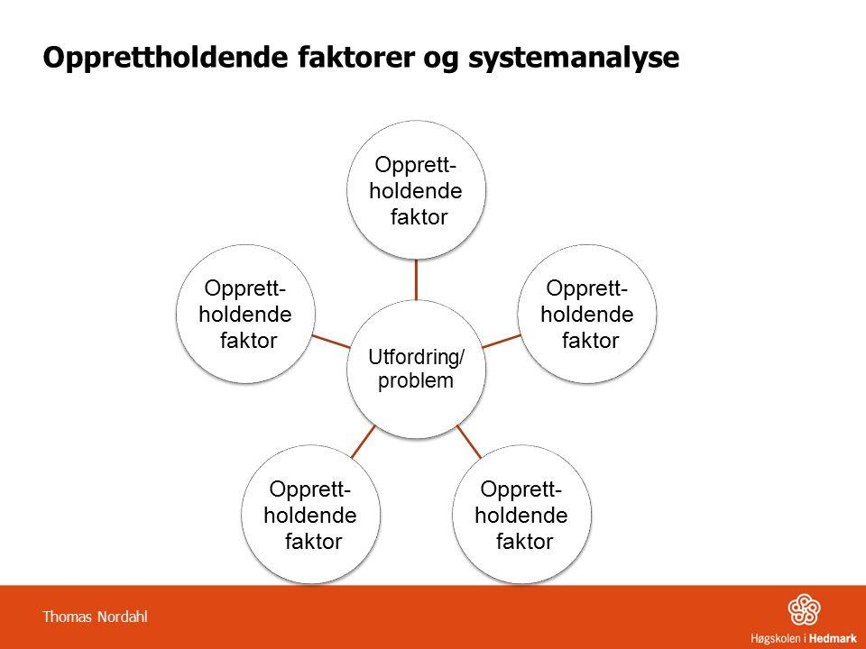 Opprettholdende faktorer og systemanalyse Utfordring/ problem Opprett- holdende faktor Opprett- holdende faktor Opprett- holdende faktor Opprett- holdende faktor Opprett- holdende faktor Thomas Nordahl