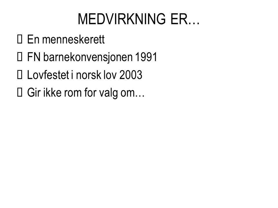 MEDVIRKNING ER…  En menneskerett  FN barnekonvensjonen 1991  Lovfestet i norsk lov 2003  Gir ikke rom for valg om…