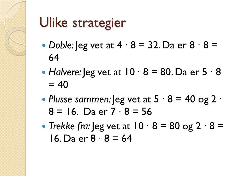 Ulike strategier Doble: Jeg vet at 4 ∙ 8 = 32. Da er 8 ∙ 8 = 64 Halvere: Jeg vet at 10 ∙ 8 = 80.