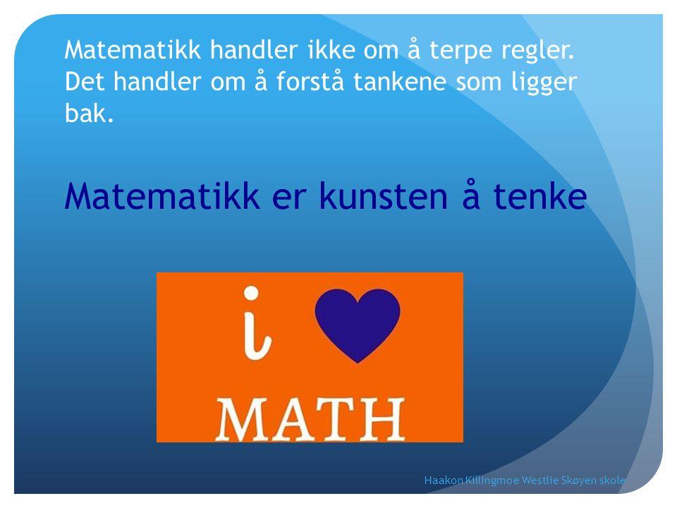 Matematikk handler ikke om å terpe regler. Det handler om å forstå tankene som ligger bak. Matematikk er kunsten å tenke Haakon Killingmoe Westlie Skø