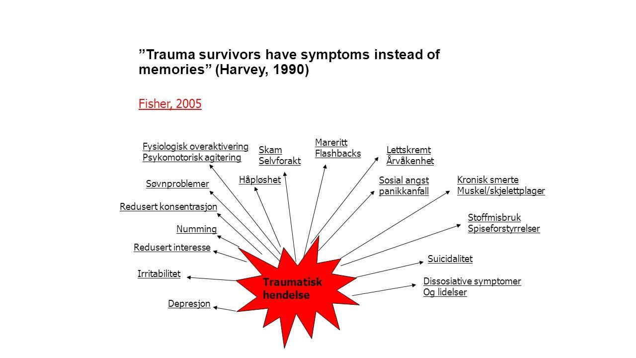"""Fisher, 2005 """"Trauma survivors have symptoms instead of memories"""" (Harvey, 1990) Depresjon Irritabilitet Redusert interesse Numming Redusert konsentra"""
