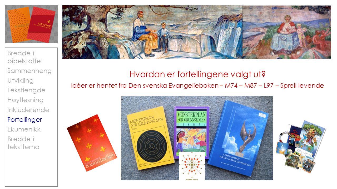 Bredde i bibelstoffet Sammenheng Utvikling Tekstlengde Høytlesning Inkluderende Fortellinger Ekumenikk Bredde i teksttema Hvordan er fortellingene valgt ut.