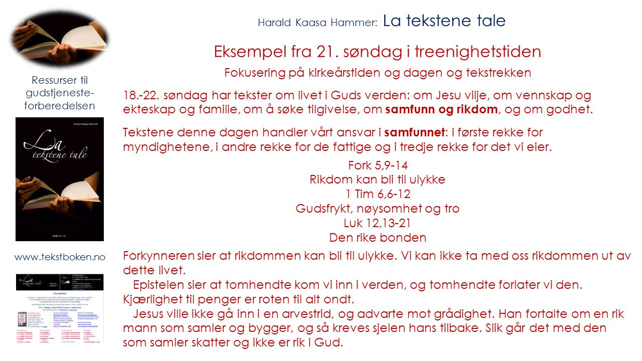 Harald Kaasa Hammer: La tekstene tale Eksempel fra 21.