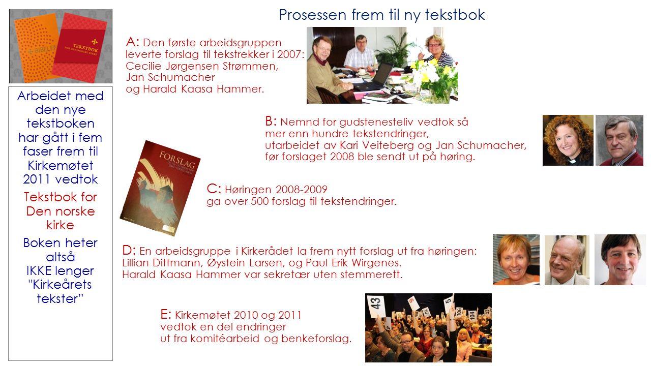 Prosessen frem til ny tekstbok B: Nemnd for gudstenesteliv vedtok så mer enn hundre tekstendringer, utarbeidet av Kari Veiteberg og Jan Schumacher, før forslaget 2008 ble sendt ut på høring.