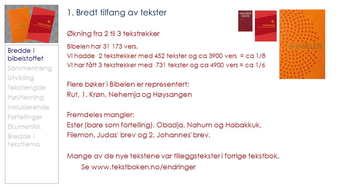 Bredde i bibelstoffet Sammenheng Utvikling Tekstlengde Høytlesning Inkluderende Fortellinger Ekumenikk Bredde i teksttema 1.
