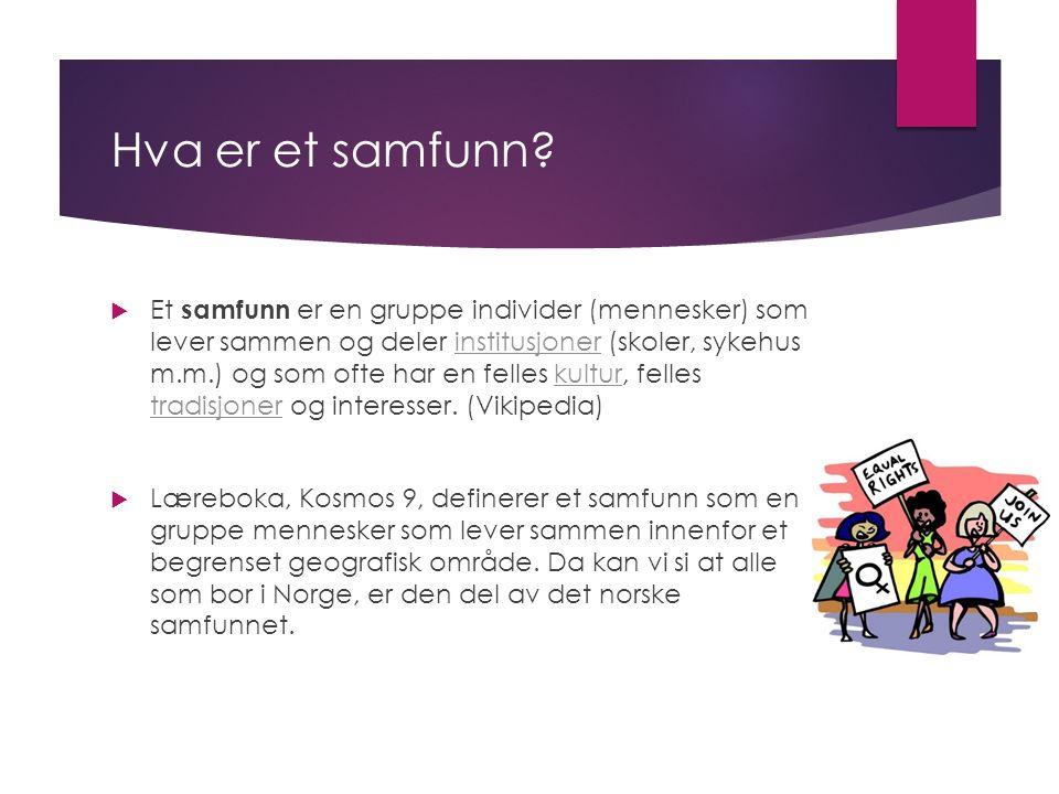 Altså:  Læreboka sier at alle som bor i Norge er en del av det samme samfunnet.