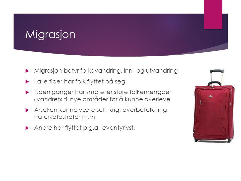 Migrasjon  Migrasjon betyr folkevandring.
