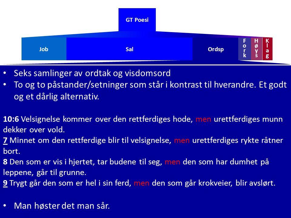 GT Poesi Seks samlinger av ordtak og visdomsord To og to påstander/setninger som står i kontrast til hverandre. Et godt og et dårlig alternativ. 10:6