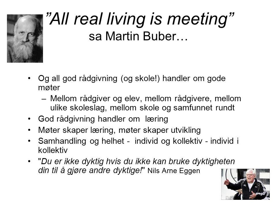 """""""All real living is meeting"""" sa Martin Buber… Og all god rådgivning (og skole!) handler om gode møter –Mellom rådgiver og elev, mellom rådgivere, mell"""