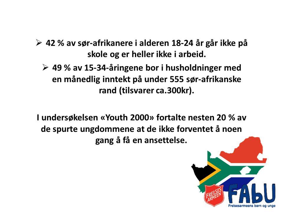  42 % av sør-afrikanere i alderen 18-24 år går ikke på skole og er heller ikke i arbeid.