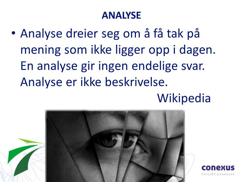 Analyse dreier seg om å få tak på mening som ikke ligger opp i dagen.