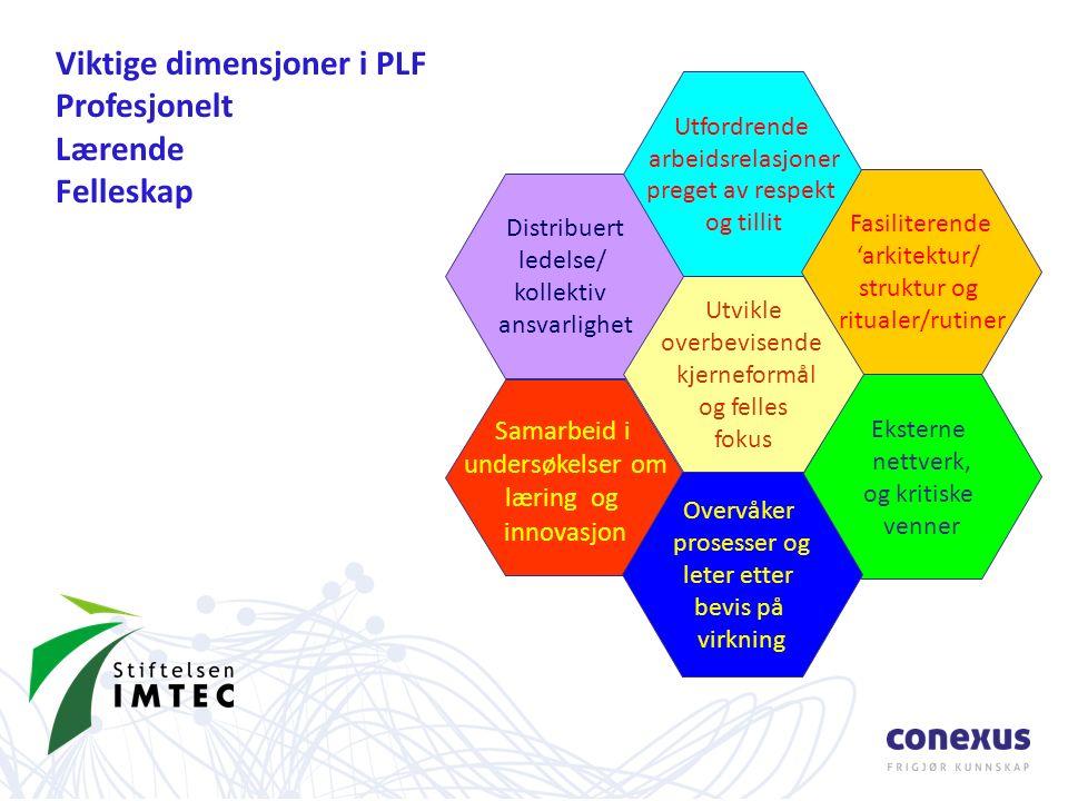 Distribuert ledelse/ kollektiv ansvarlighet Samarbeid i undersøkelser om læring og innovasjon Utfordrende arbeidsrelasjoner preget av respekt og tillit Fasiliterende 'arkitektur/ struktur og ritualer/rutiner Eksterne nettverk, og kritiske venner Overvåker prosesser og leter etter bevis på virkning Utvikle overbevisende kjerneformål og felles fokus Viktige dimensjoner i PLF Profesjonelt Lærende Felleskap