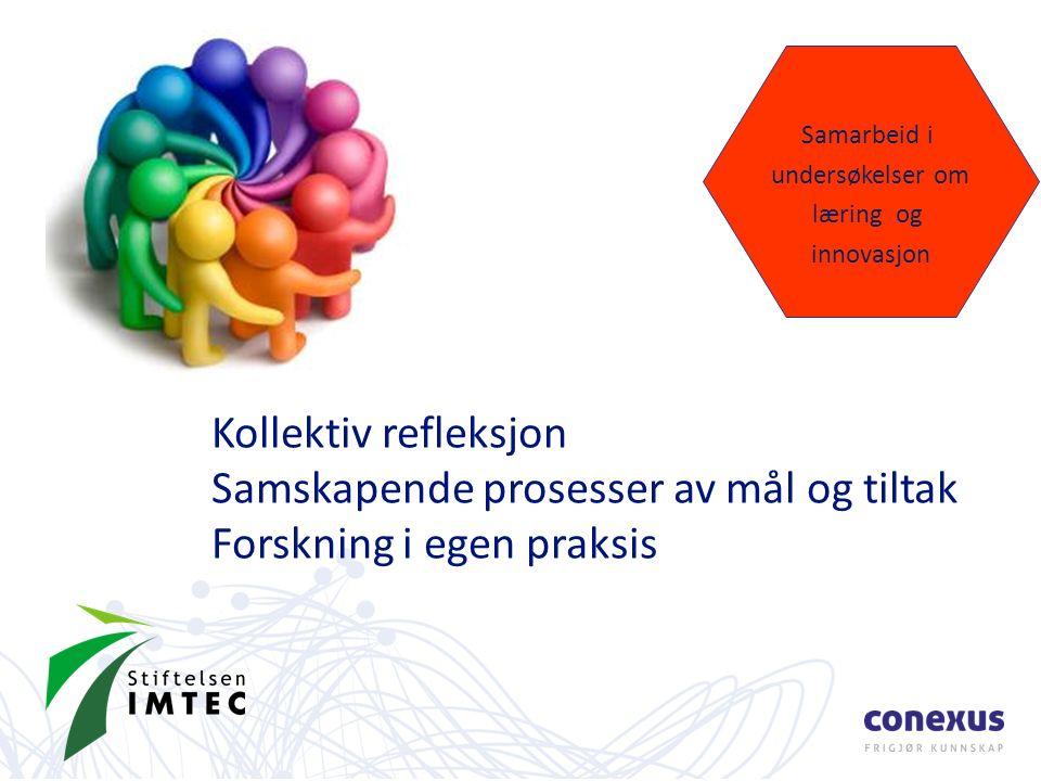 Kollektiv refleksjon Samskapende prosesser av mål og tiltak Forskning i egen praksis Samarbeid i undersøkelser om læring og innovasjon