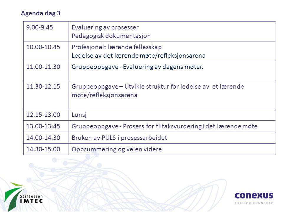 Agenda dag 3 9.00-9.45Evaluering av prosesser Pedagogisk dokumentasjon 10.00-10.45Profesjonelt lærende fellesskap Ledelse av det lærende møte/refleksjonsarena 11.00-11.30Gruppeoppgave - Evaluering av dagens møter.