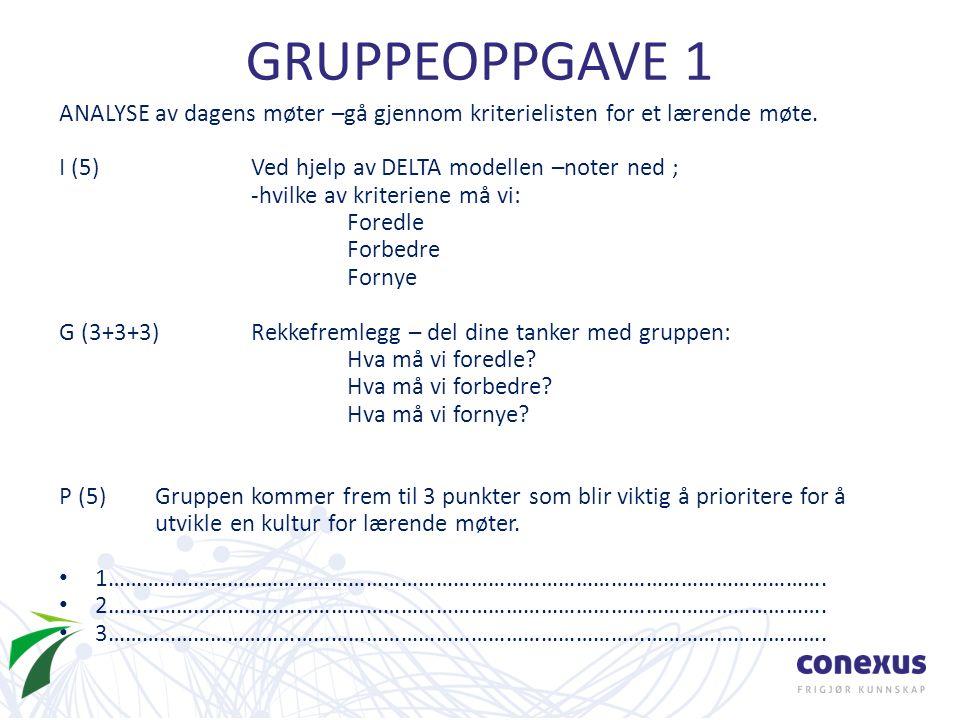 GRUPPEOPPGAVE 1 ANALYSE av dagens møter –gå gjennom kriterielisten for et lærende møte.