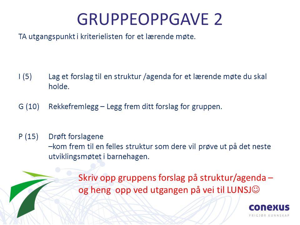 GRUPPEOPPGAVE 2 TA utgangspunkt i kriterielisten for et lærende møte.