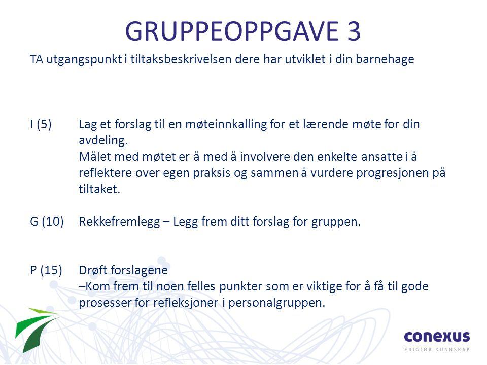 GRUPPEOPPGAVE 3 TA utgangspunkt i tiltaksbeskrivelsen dere har utviklet i din barnehage I (5)Lag et forslag til en møteinnkalling for et lærende møte for din avdeling.