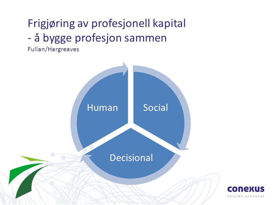 Frigjøring av profesjonell kapital - å bygge profesjon sammen Fullan/Hargreaves Social Decisional Human