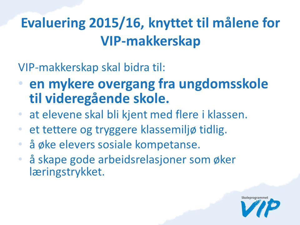 Evaluering 2015/16, knyttet til målene for VIP-makkerskap VIP-makkerskap skal bidra til: en mykere overgang fra ungdomsskole til videregående skole.